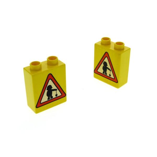 2 x Lego Duplo Motivstein gelb 1x2x2 bedruckt Verkehrs Zeichen Schild Achtung Bauarbeiter Bild Bau Stein für Bob der Baumeister 4066pb135