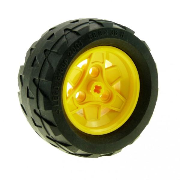 1 x Lego Technic Rad schwarz gelb 68.8x36 H Ballon Reifen Felge mit 3 Pin Löchern Technik  Auto Fahrzeug 7344 41893 41896c02
