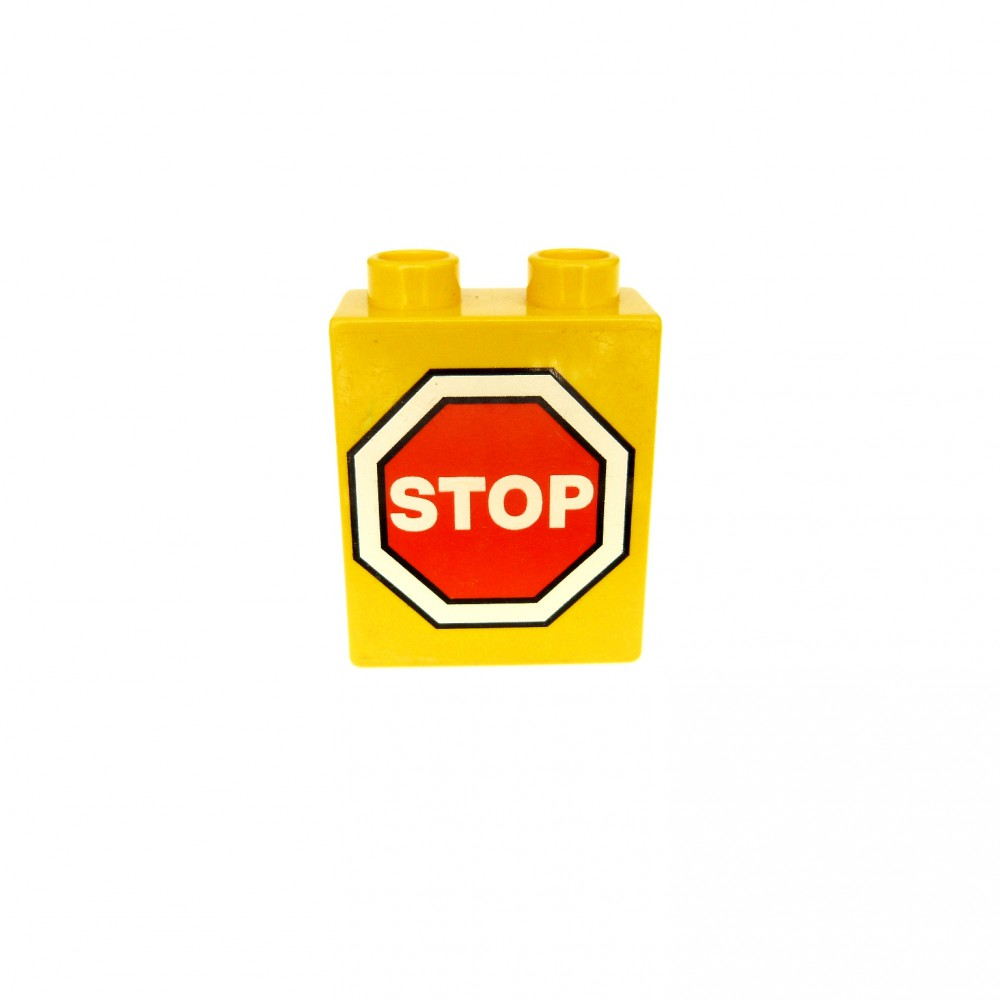 1 x Lego Duplo Motivstein gelb 1x2x2 bedruckt Eisenbahn Verkehrs Zeichen 4066