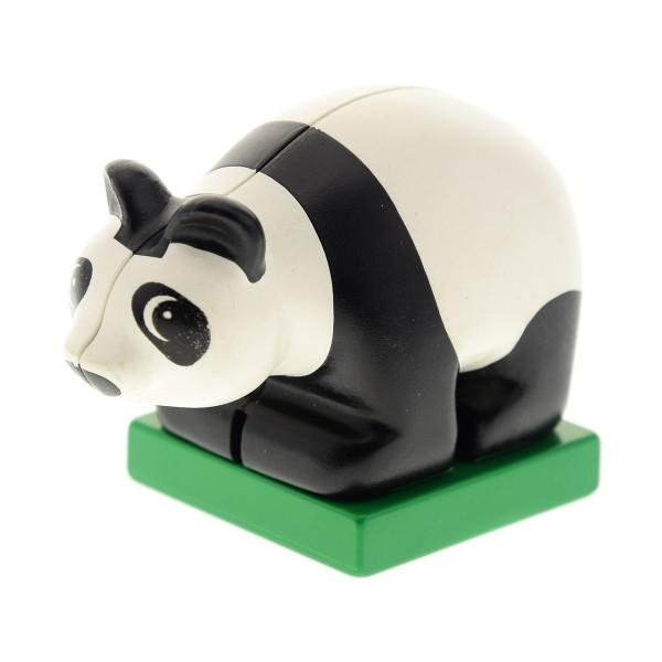 1 x Lego Duplo Tier Panda Bär schwarz weiß auf Sockel Platte grün Augen die nach links schauen klein Baby 2334c01pb01