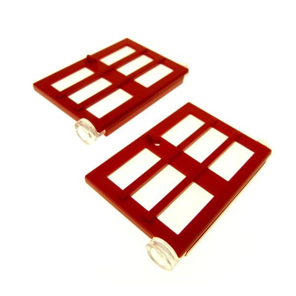 2 x Lego System Tür Blatt rot 1x4x5 rechts transparent weiss mit 6 Fenster Gitter Ausschitt Haus 73312