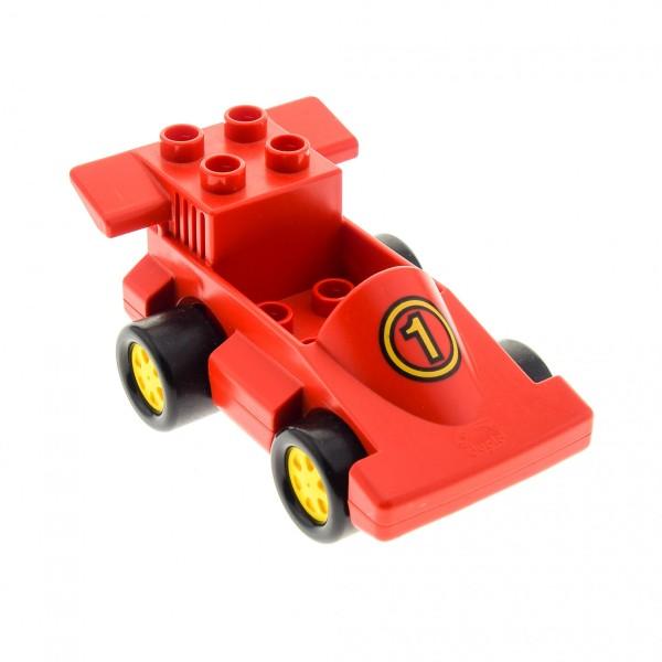 1x Lego Duplo Fahrzeug Rennwagen rot Nr.1 Renn Auto Räder gelb duploracer01