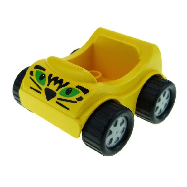 1 x Lego Duplo Fahrzeug Auto gelb Go-Kart PKW mit Katzen Tiger Augen Muster klein für Set 1404 31363pb08