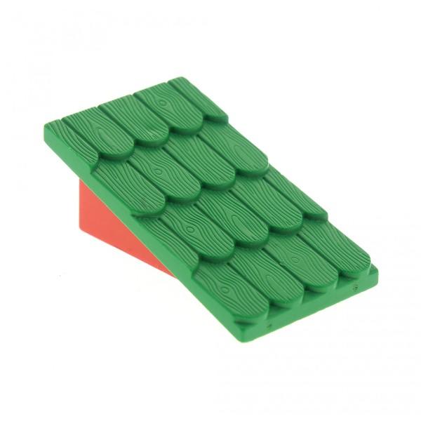 1 x Lego System Fabuland Dach grün Wand rot ohne Schornstein Loch schräg Dachstein Haus 787c02