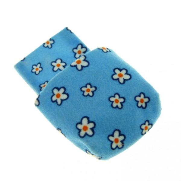 1 x Lego Duplo Schlafsack Stoff hell blau mit Blumen weiss orange Bettbezug Schlafzimmer Baby Decke Kissen Puppenhaus sleepbag02