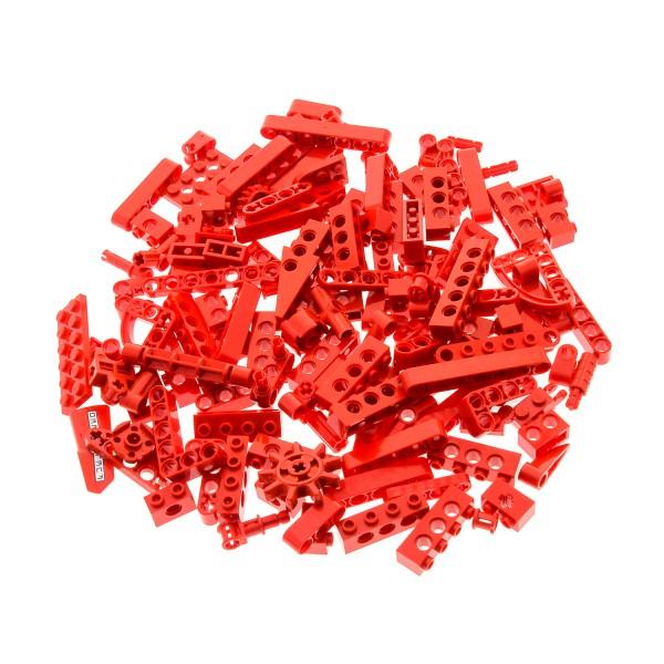 100 Lego Technic Teile rot 130 g z.B. Loch Balken Achs Pin Verbinder Liftarm Zahnrad Winkel kg Technik Steine zufällig gemischt