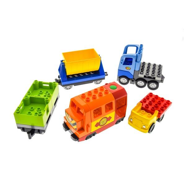 1 x Lego Duplo elektrische Eisenbahn Set ! VERKLEBT ! E-Lok rot Zug Lore Anhänger grün LKW hell blau Auto Lokomotive geprüft Set 10508 6037474 5135c01