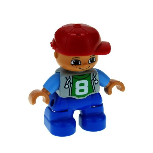1 x Lego Duplo Figur Kind Junge Hose blau Jacke grau mit ´8´ Aufdruck Kappe Mütze Basecap rot 47205pb026