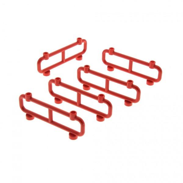 5 x Lego System Zaun rot 1x8x2 Gatter Zäune Absperrung Geländer 248621 2486