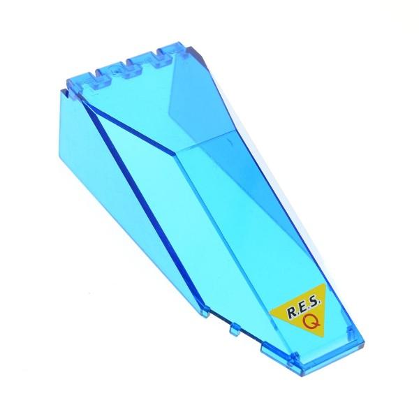 1 x Lego System Cockpit transparent blau 10 x 4 x 2 1/3 windscreen Sticker unten Res-Q Kanzel Kuppel Fenster 6462 6473 2507pb06