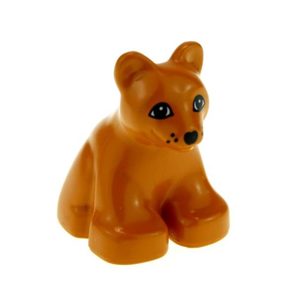 1 x Lego Duplo Tier Baby Löwe dunkel orange braun Zoo Zirkus Safari Katze 2334