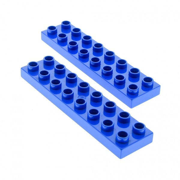 2 x Lego Duplo Bau Basic Platte blau 2x8 Stein für Set 9213 4686 5683 5608 44524