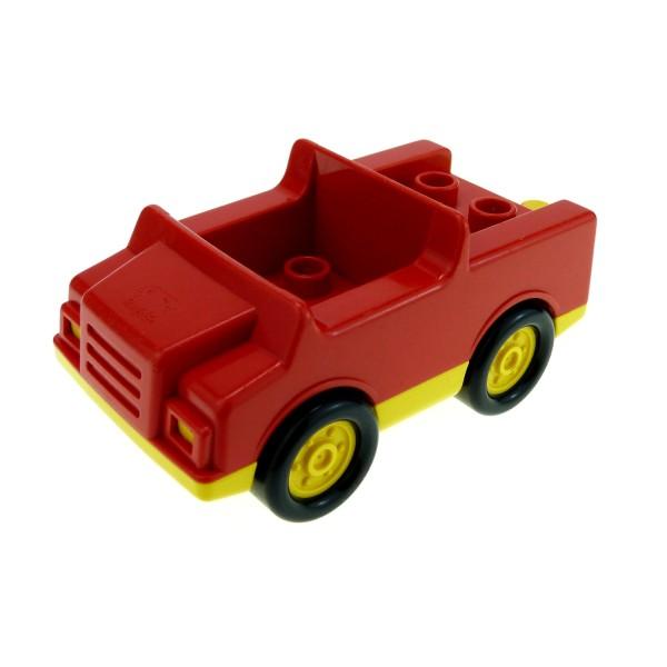 1 x Lego Duplo Fahrzeug Auto rot gelb PKW für Feuerwehrwagen 4 Noppen im Sitz klein für Set 9181 2218c01