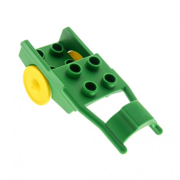 1 x Lego Duplo Pferde Anhänger grün Rad gelb Pony Wagen Kutsche Karren Horse Drawn Cart Set 3093 2695 6373c01