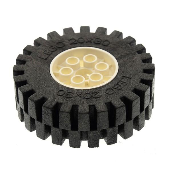 1 x Lego Technic Auto Fahrzeug Rad schwarz creme weiss 20x30 Räder Felge Technik Wheel and Tire 4267 4266c02