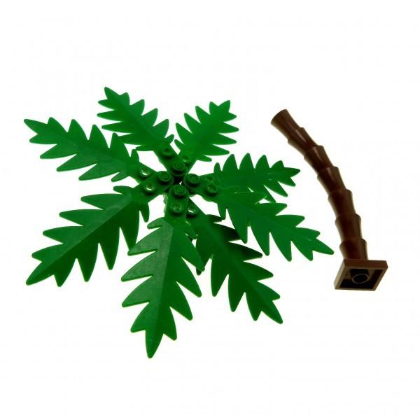 1 x Lego System Pflanze grün braun Palme groß 8 Wedel 10 x 5 Stamm Piraten Blatt Strauch Busch Blätter 2518 2536 2566 2563