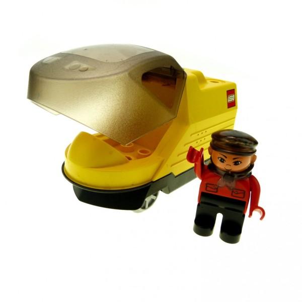 1 x Lego Duplo Intelli E-Lok gelb schwarz Eisenbahn Lokomotive Passagier Zug komplett geprüft mit Figur Lokführer rot 4555 pb051 6172c01