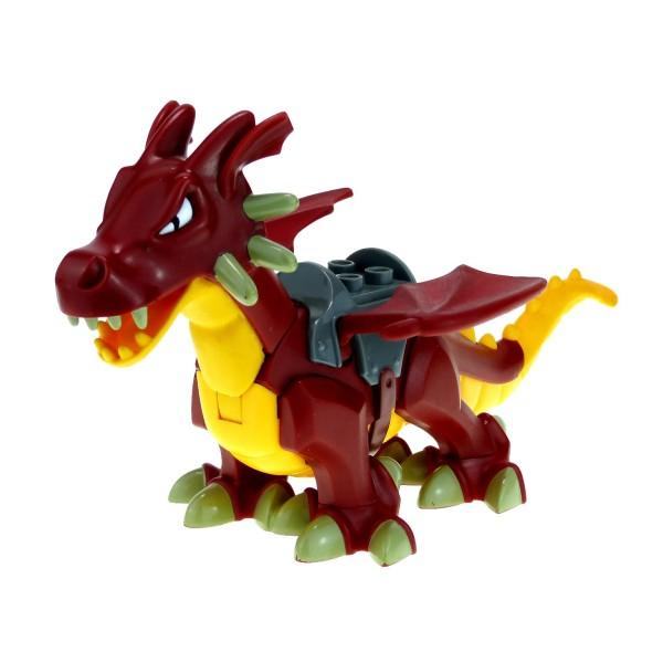 1 x Lego Duplo Tier Drache dunkel rot orange gelb groß mit Sattel Dragon Tower Zoo Zirkus Burg Drachen Castle 4776 5334c01pb01
