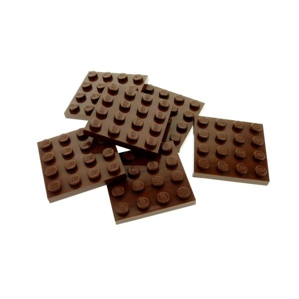 6 x Lego System Bau Platte 4x4 reddish rot braun Quadrat für Set Star Wars 76054 60052 75827 3816 4842 75020 10193 7753 21124 4225868 3031