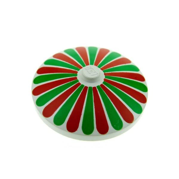 1 x Lego System Schirm weiss 4 x 4 bedruckt mit rot grün Streifen Schild rund Sat Radar Schüsseln 3960p01