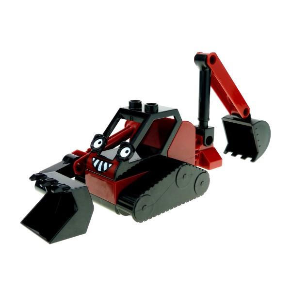 1 x Lego Duplo Bau Fahrzeug Benny schwarz dunkel rot Bob der Baumeister Figur Ketten Bagger 78lo für Set 3293 52066px1 dbennyc01