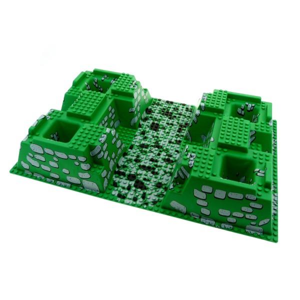 1 x Lego System 3D Platte B-Ware abgenutzt Bau Platte grün grau schwarz 32x48x6 Noppen Felsen Steine 30271px2