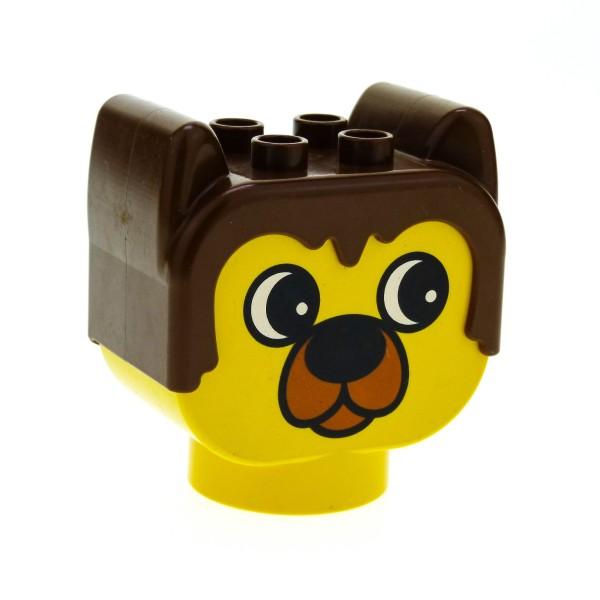 1 x Lego Duplo Primo Tier Kopf gelb braun Bär Motiv Stein Figur Baustein dupbarnaby1