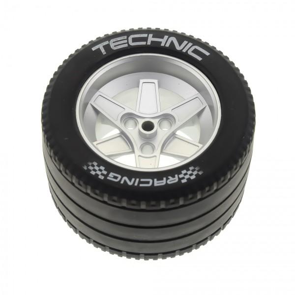 1 x Lego Technic Rad schwarz 62mm D.x46mm Racing Felge metallic silber Technik Auto Fahrzeug für Set 8458 22969 32296pb01 4294868 22969c04