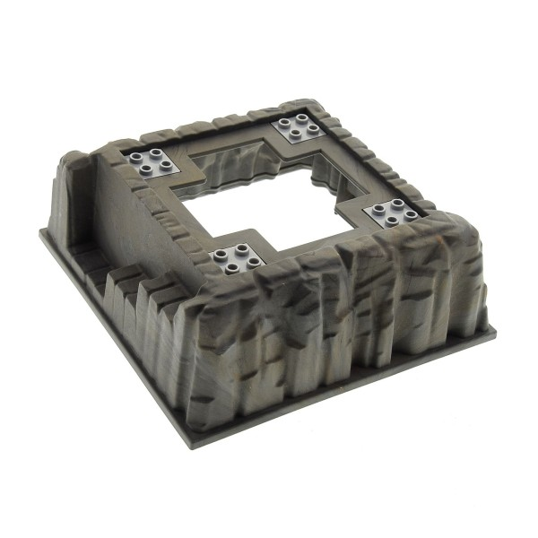 1 x Lego System 3D Bau Basic Platte Fels neu-dunkel grau 16x16 rot marmoriert Berg Burg Felsen mit Öffnung 4 Pin Platten neu-hell grau Bionicle 8894 2476 4288824 53588pb01