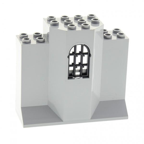 1 x Lego System Mauerteil neu-hell grau 3 x 8 x 6 Panele mit Gitter Fenster verdreht Mauer Wand Turm Burg Castle 30045 48490
