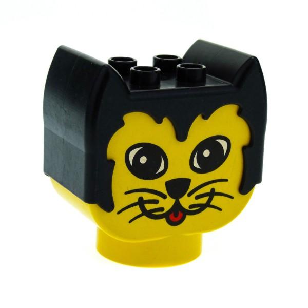 1 x Lego Duplo Primo Tier Kopf gelb schwarz für Katze Figur Motiv Stein Baby Baustein dupkittyheadpb1
