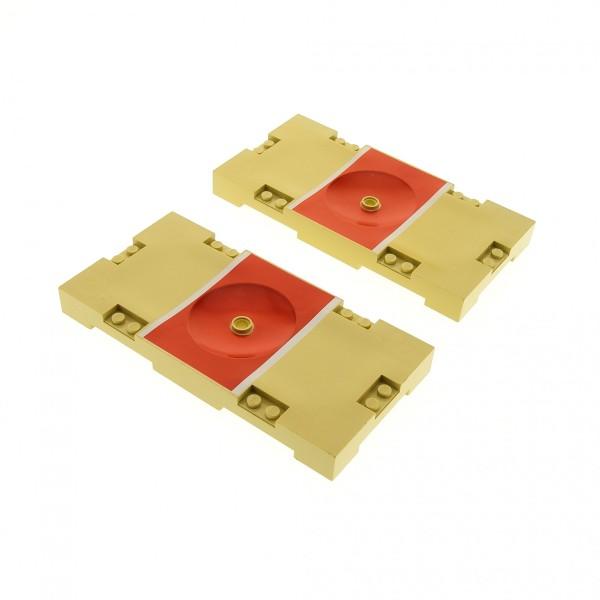 2 x Lego System Spielfeld beige tan rot 8 x 16 mit Basketball Aufdruck Loch für Halterung Platte Sports Field 30489pb01
