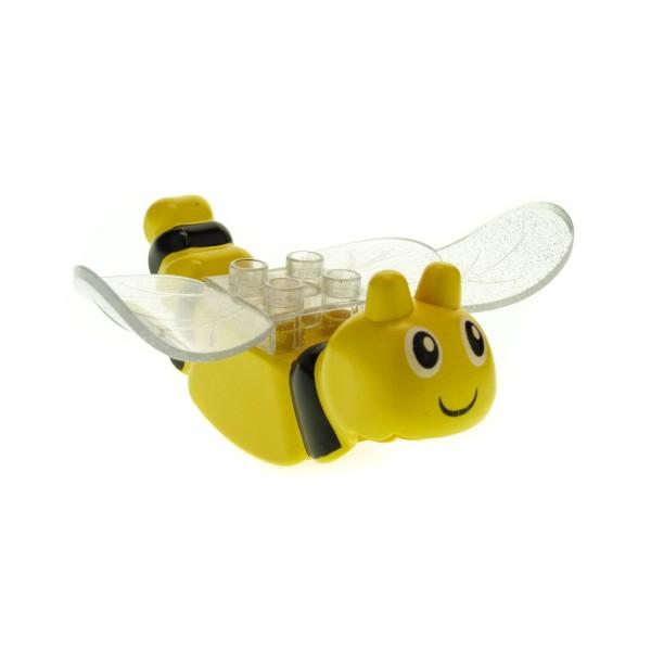1 x Lego Duplo Tier Schmetterling gelb schwarz Flügel transparent weiß mit Glitzer Insekt Primo Baby Baustein 31223 31227pb01