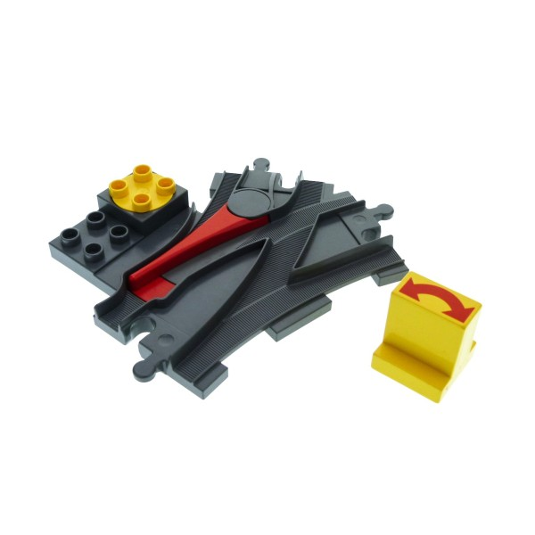 1 x Lego Duplo Weiche neu-dunkel grau mit Stell Dreh Stein Schalter gelb rot Pfeil Schiene Lok Eisenbahn 6442pb01 6379c01