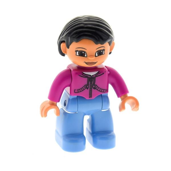1 x Lego Duplo Figur Frau Mutter Hose hell blau Jacke magenta pink lila Haare schwarz Augen braun für Puppenhaus 47394pb015
