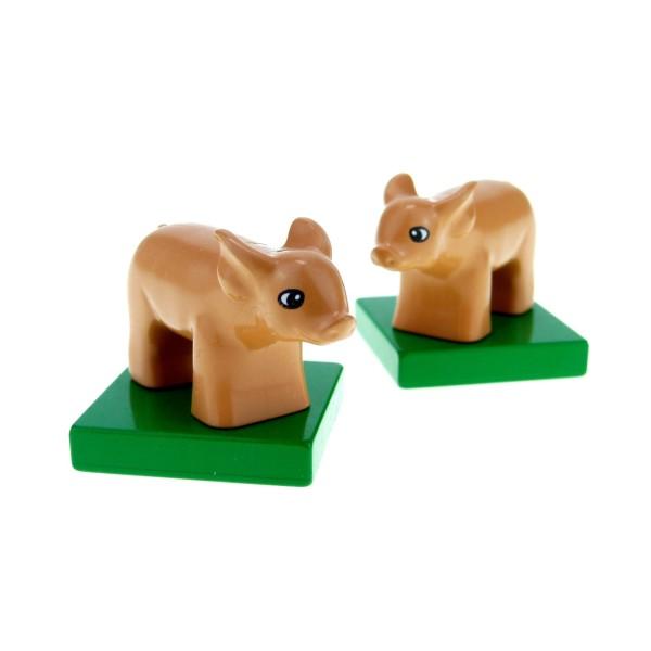 2x Lego Duplo Tier Schwein Ferkel nougat Sockel Platte Baby 4972 75726c01pb01