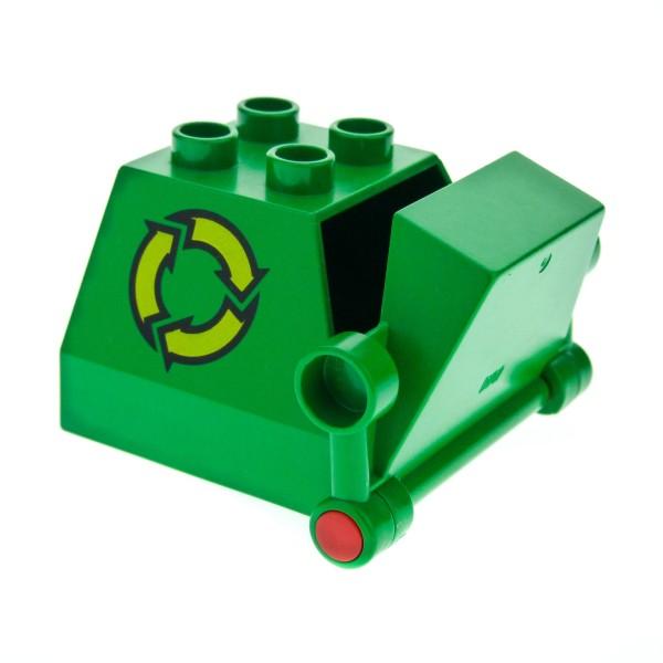 1 x Lego Duplo Müll Container grün für Recycling Auto Müllabfuhr Wagen Fahrzeug 2247c01pb01