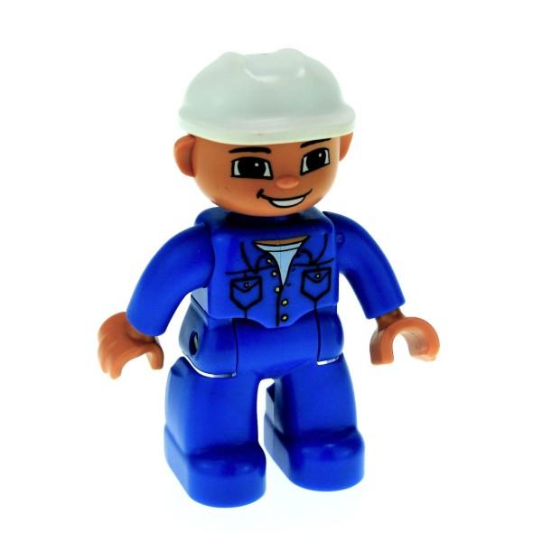 1 x Lego Duplo Figur Mann Bauarbeiter Hose Jacke Hemd blau Augen braun Helm weiss Baustelle 47394pb105