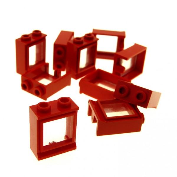 10 x Lego System Fenster Rahmen rot transparent weiss klar 1 x 2 x 2 Zug Eisenbahn Haus Fenster Waggon Window 7026