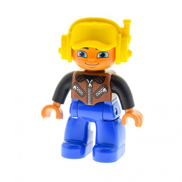 1 x Lego Duplo Figur Mann Hose blau Jacke Weste braun schwarz Mütze Basecap gelb Headset 47394pb157
