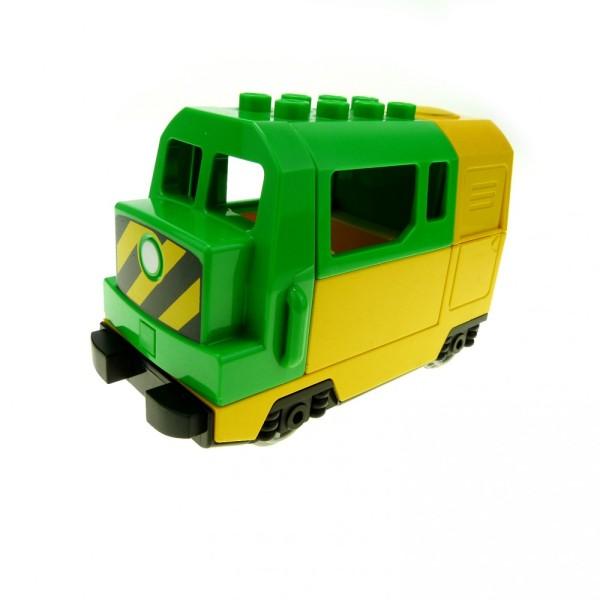 1 x Lego Duplo E-Lok gelb grün Eisenbahn Lokomotive Geräusch Passagier Zug komplett geprüft 51554pb01 51546 51547 5135cx1