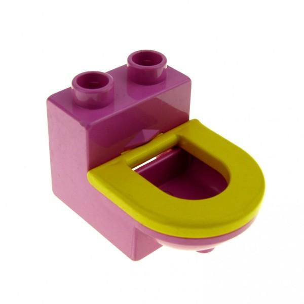 1 x Lego Duplo Möbel Toilette rosa dunkel pink gelb WC mit Deckel Sitz Badezimmer Bad Puppenhaus 4911c01