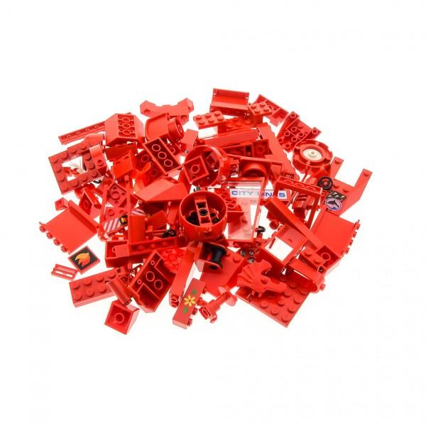 100 Lego Sonderteile Bau Steine Teile rot Form und Größe bunt gemischt z.B. Fenster Dach Bogen Autoteile