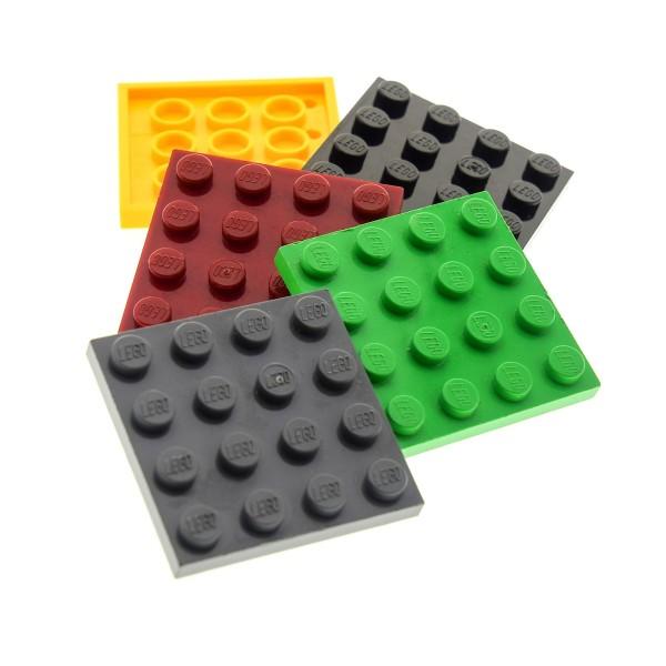 5 x Lego System Basic Bau Platten 4x4 Platte 4 x 4 Noppen zufällig bunt gemischt z.B. rot, blau, grün, gelb, schwarz, grau 3031