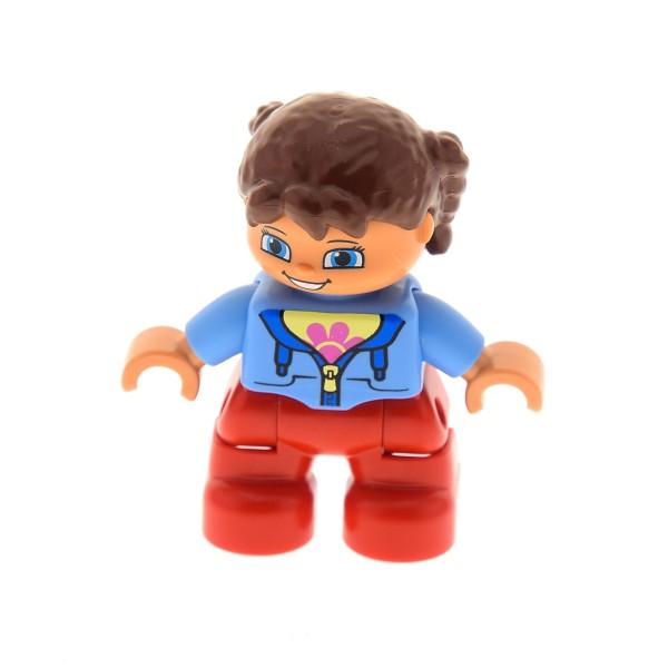1x Lego Duplo Figur Kind Mädchen rot Jacke blau Zöpfe braun 10584 47205pb030