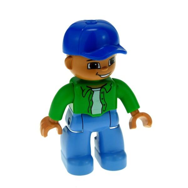 1 x Lego Duplo Figur Mann Vater großer Bruder Hose hell blau Jacke bright hell grün Mütze Basecap blau Augen braun Set 5654 5506 47394pb127