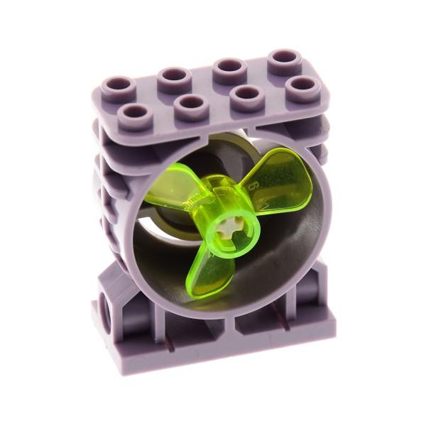 1 x Lego System Motorblock Maschine Aufsatz sand violette 2x4x4 für Aero Tube 3 Blatt Rotor Propeller Blätter transparent neon grün 6041 30535