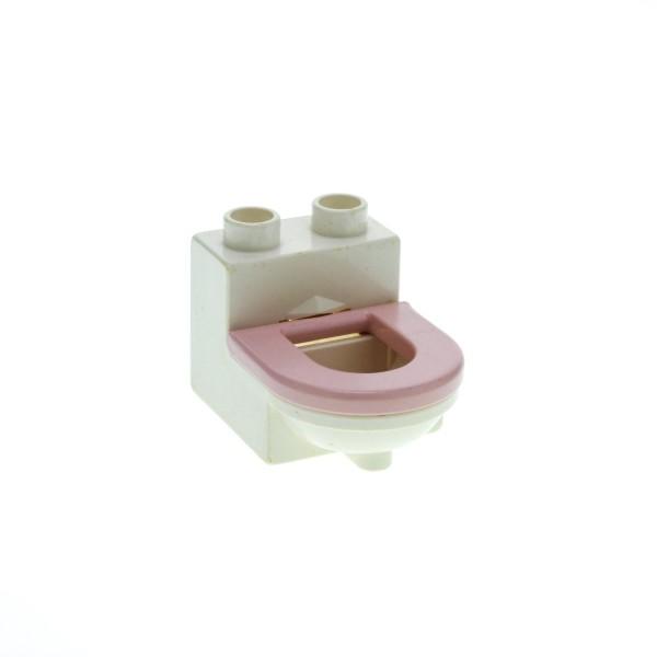 1 x Lego Duplo Möbel Toilette weiss rosa WC mit Deckel Sitz Badezimmer Bad Puppenhaus 4911c03