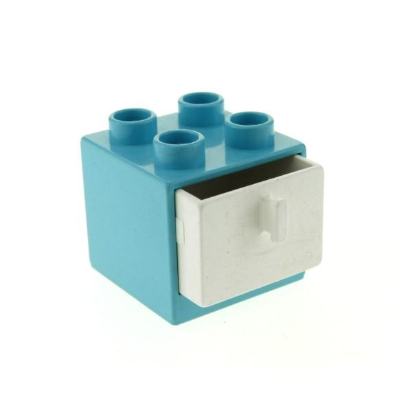 1 x Lego Duplo Möbel Schrank hell blau 2x2x1.5 Kommode mit Schublade weiss 2x2 Schlafzimmer Küche Bad Puppenhaus 4890 4891
