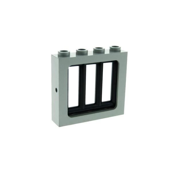 1 x Lego System Fenster Rahmen alt-hell grau 1 x 4 x 3 Gitter schwarz Haus für Set 6332 6598 6636 Polizei Wache 6016 4033